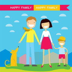 Happy family members parents,their son and a dog. Lovely cartoon characters on nature sunny summer day background.Vector illustration