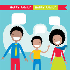 Happy African American family members parents and their son. Lovely cartoon characters with speech bubbles.Vector illustration