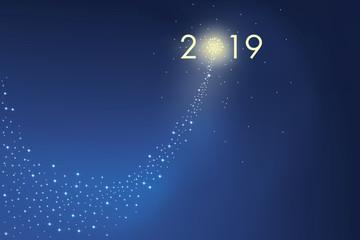 Carte de vœux présentant l'objectif 2019 sous la forme d'une comète en feu d'artifice symbole de réussite