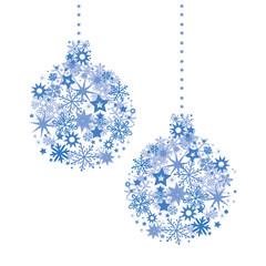 blaue Weihnachts Christbaumkugeln zusammengesetzt aus Sternen