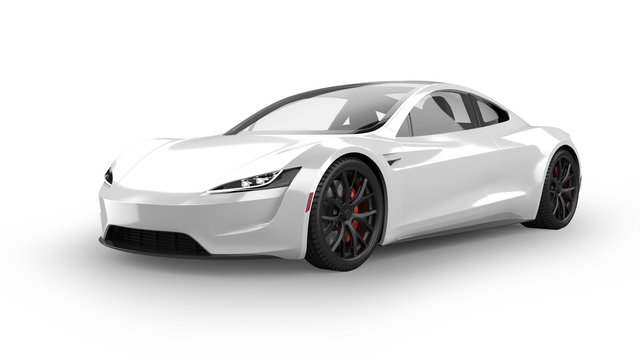 Electric Sports Car Isolated on White
