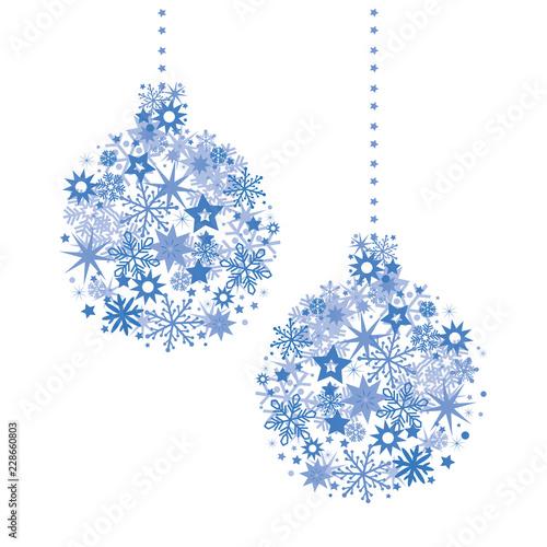 Christbaumkugeln Sterne.Blaue Weihnachts Christbaumkugeln Zusammengesetzt Aus