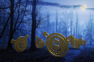 currency bears on the path through foggy forest at night in full moon light. crypto or trade Halloween concept. 3d illustration