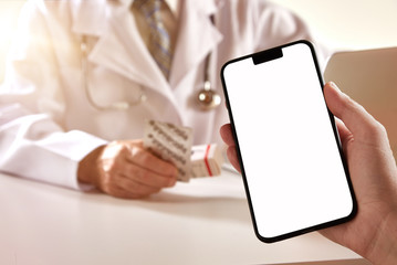Smartphone with blanc screen in doctors office
