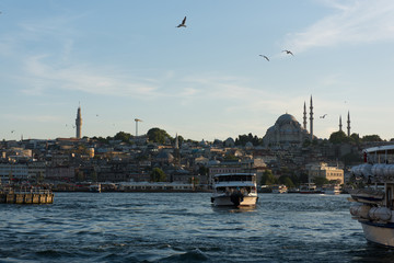 Touristic boats in Golden Horn bay of Istanbul