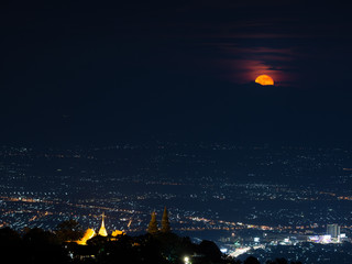 Chiang Mai landscape and red full moon and clouds