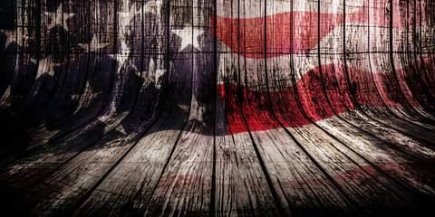 Woden background with overlayed american flag, veterans day concept