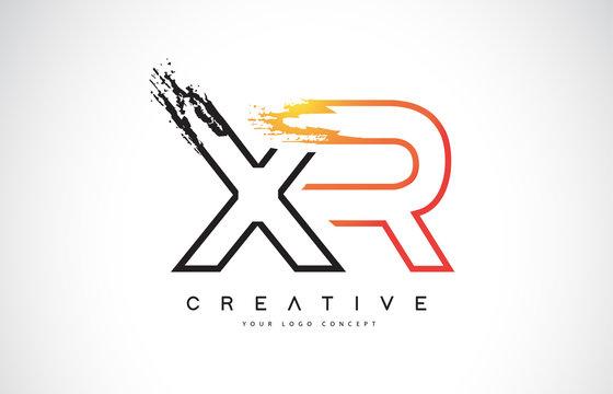 XR Creative Modern Logo Design with Orange and Black Colors. Monogram Stroke Letter Design.