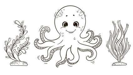Cute cartoon octopus with seaweed for coloring book.