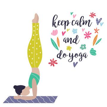 Yoga girl. Yoga vibes colorful concept poster