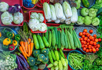 Colorful fresh organic vegetables in market. These are vitamins, minerals, fiber are very useful for human health