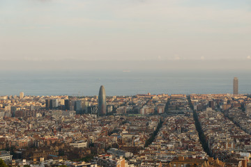 Bird's eye view on Barcelona with Agbar Tower. Financial District of Barcelona, Catalonia, Spain.