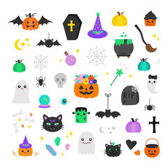 Halloween hand drawn vector icon set. Cute spooky illustrations. Carved and festive pumpkins, candy, witch and wizard, trick or treat, night and cemetery objects, animals, monsters and ghosts.