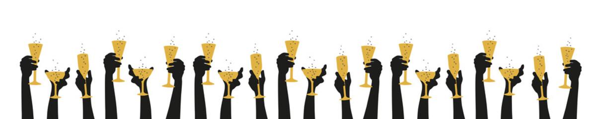 Hände halten Gläser nach oben - Party anstossen Fotomurales