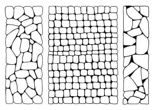 Texture of stones. wall from bricks set vector. paved stone walkways