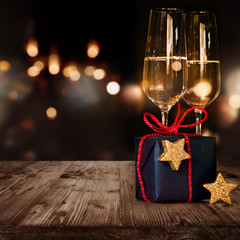 Christmas gift and champagne