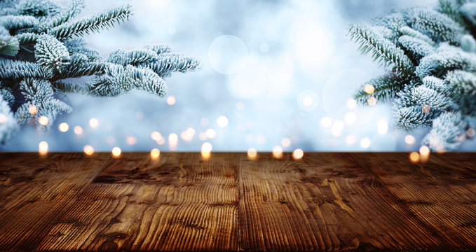 Old rustic wooden table in winter