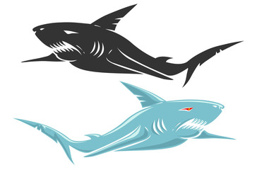 Retro vector logo with shark.