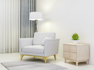 Cloth sofa, bedside table, green plants and floor lamp in modern living room