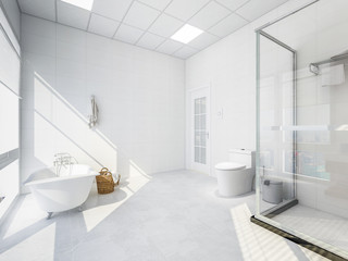 Spacious bathroom with shower room, bathtub and toilet