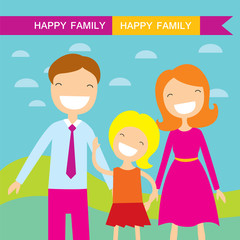 Happy family members parents and their daughter. Lovely cartoon characters on nature sunny summer day background.Vector illustration