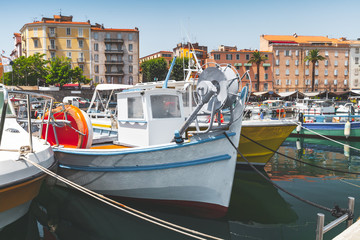 Vintage fishing boats moored in Ajaccio