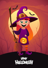 Happy Halloween cartoon character costume witch red background