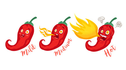 Cartoon different red chillies.