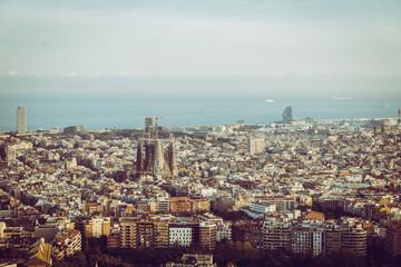Bird's eye view on Barcelona with Sagrada Familia, Catalonia, Spain.