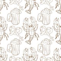 Beer, cancer. Background, wallpaper, seamless. Sketch, doodle. Monochrome.