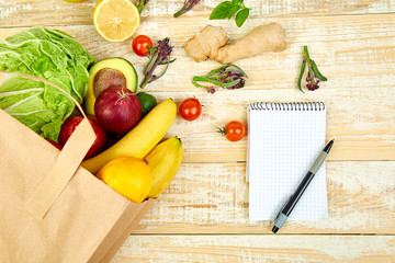 Shopping list, recipe book, diet plan. Grocering concept.