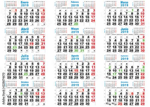 Calendario Santoral 2019.Calendario 2019 Santos Espana Stock Image And Royalty Free Vector