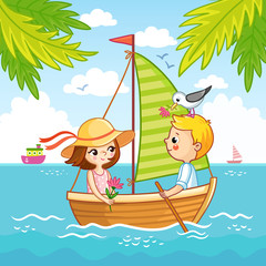 Boy and a girl are sailing on a sailboat on the sea.