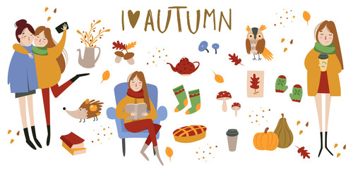 Set of cute autumn animals, plants, food and sweets, girls, women
