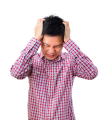 Portrait of a stressed asian man on white background