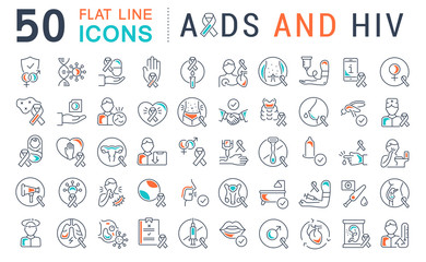 Set Vector Line Icons of AIDS and HIV.