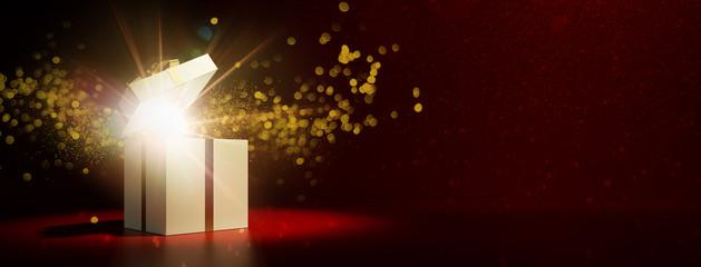 Geschenk als Überraschung zu Weihnachten offen