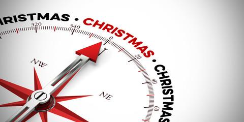 Pfeil zeigt in Richtung Christmas / Weihnachten