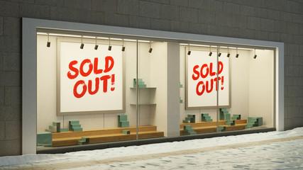 Leere ausverkaufte Schaufenster im Einzelhandel