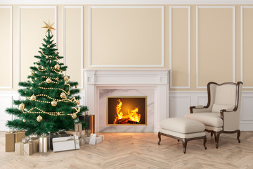 Classic beige interior with christmas tree, fireplace, lounge armchair, wall panels, wood floor. 3d render illustration mock up.