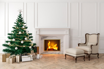 Classic interior with christmas tree, fireplace, lounge armchair, wall panels, wood floor. 3d render illustration mock up.