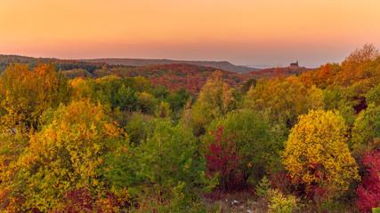 October in Franconia, Germany. Golden Sunrise in Oberfranken