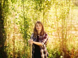 Portrait of smiling farmer on a field
