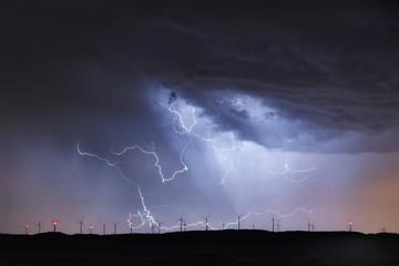 Spain,Burgos Province, Briviesca, thunderstorm