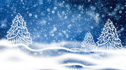 Blue bokeh background with snowflakes. Empty winter background, snowy, celebratory.