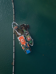 Indonesia, Bali, Aerial view of ships