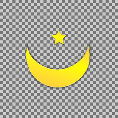Vector Muslim Symbol, Paper Moon and Star, Colored Illustration.
