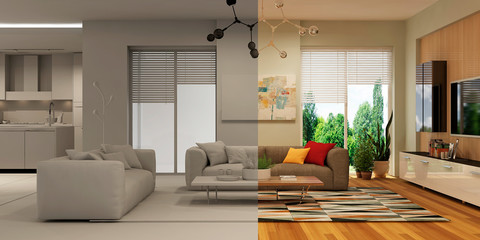 Modern house interior. 3d rendering. Concept