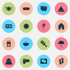 Tourism icons set with house, yacht, backpack and other theater  elements. Isolated vector illustration tourism icons.