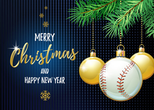 Merry Christmas and Happy New Year. Sports greeting card. Baseball ball as a Christmas ball. Vector illustration.